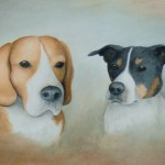 Beagle en Fox aquarel